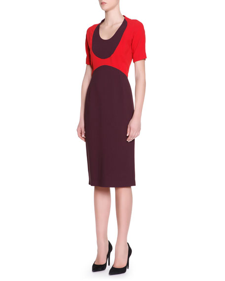 Short-Sleeve Colorblock-Top Dress