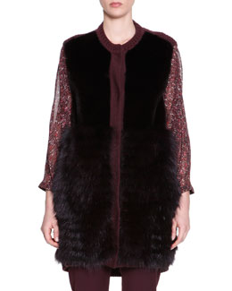 Piazza Sempione Mink & Fox Fur Knit-Trim Vest