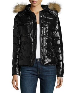 Moncler Puffer Jacket with Fur-Trim Hood