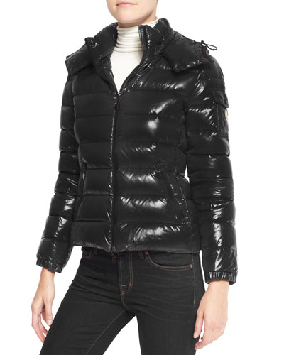 Moncler Shiny Fitted Puffer Jacket with Hood