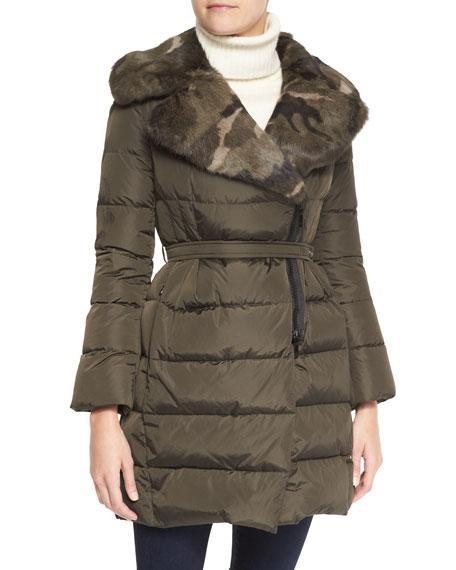 Camo Fur-Lapel Puffer Jacket