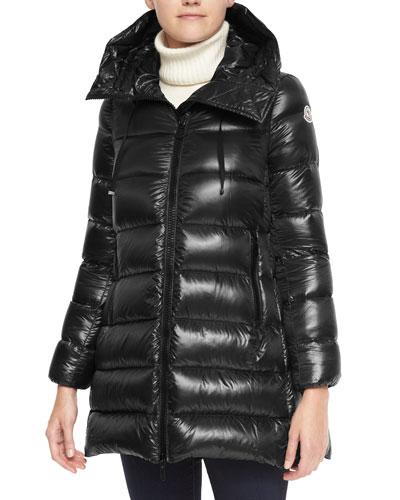 Moncler Hooded Zip Puffer Coat, Black