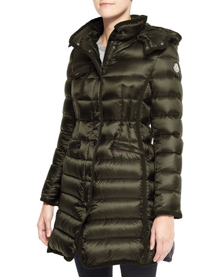 Hooded Long Puffer Coat, Olive