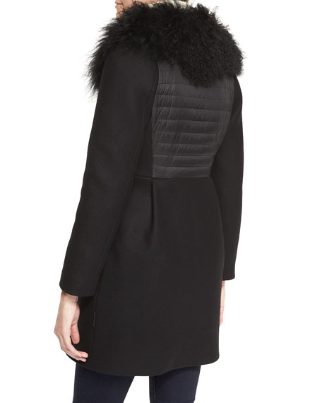 Long Zip-Front Fur Collar Jacket