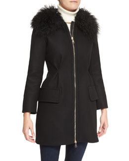Moncler Long Zip-Front Fur Collar Jacket