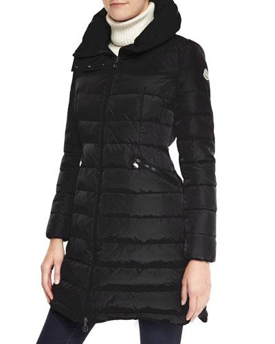 Moncler Long Puffer Coat with High Collar