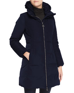 Moncler Hooded Long Oversize Down Jacket, Navy