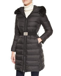 Moncler Belted Puffer Coat with Fur-Trimmed Hood