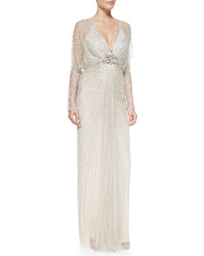 Jenny Packham Sheer-Sleeve Fanned Beaded Gown