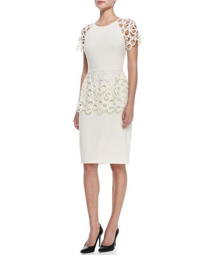 Lela Rose Circle-Lace Peplum Dress, Ivory