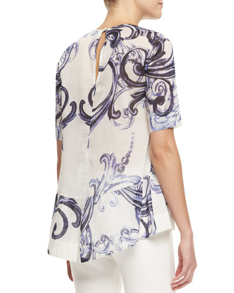 Short-Sleeve Scroll-Print Peplum Blouse