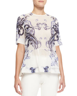 Lela Rose Short-Sleeve Scroll-Print Peplum Blouse