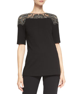 Lela Rose Elbow-Sleeve Embroidered-Top Blouse