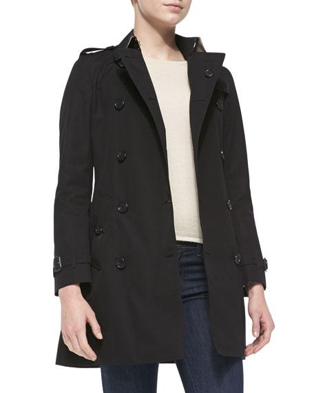 Double-Breasted Trench Coat, Jet Black