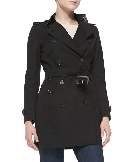 Burberry LondonDouble-Breasted Trench Coat, Jet Black