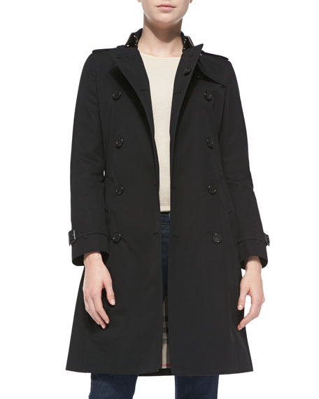 Near-Knee-Length Double-Breasted Trench Coat, Jet Black
