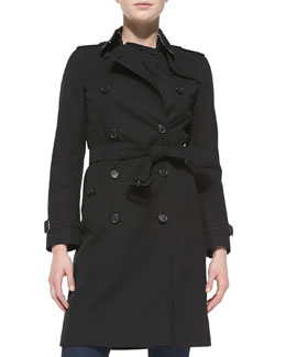 Burberry London Near-Knee-Length Double-Breasted Trench Coat, Jet Black