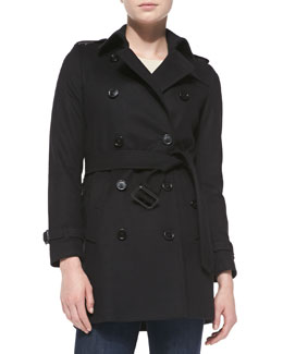 Burberry London Double-Breasted Wool Trench Coat, Black