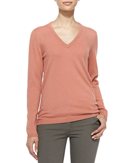 Cashmere Elbow-Patch Pullover Sweater, Apricot
