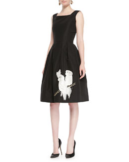 Oscar de la Renta Parrot Embroidered Cocktail Dress, Black