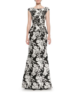 Oscar de la Renta Cap-Sleeve Abstract Floral Gown, White/Black