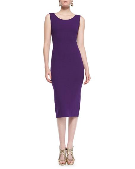 Sleeveless Wool Crepe Sheath Dress, Violet