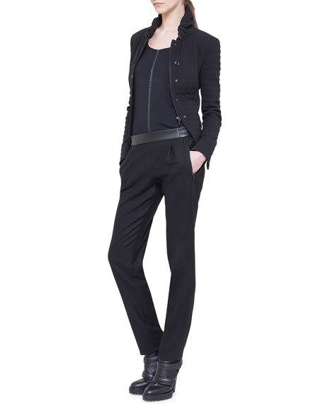 Slim Pleated Jogging Pants