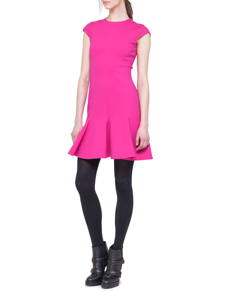 Cap-Sleeve Jersey Flounce Dress