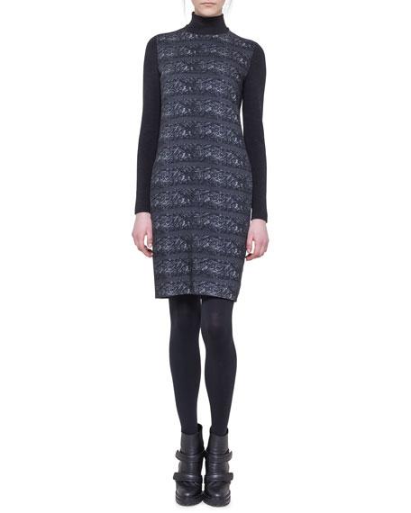 Ski Lift Printed Mock-Neck Dress