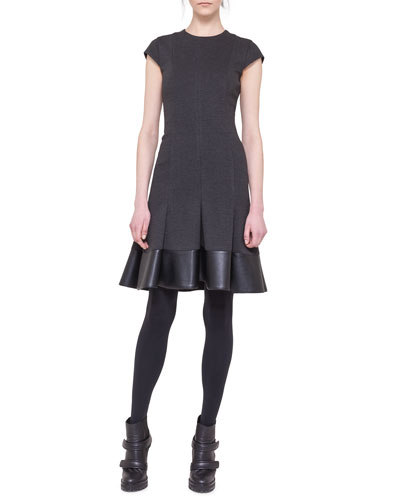 Akris punto Cap-Sleeve Jersey Flounce Dress