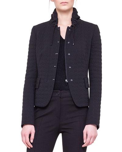 Akris punto Quilted Drawstring-Collar Jacket