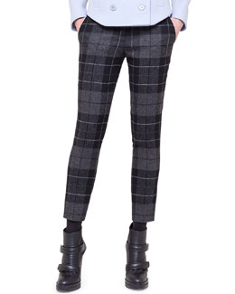 Akris punto Frankie Check Flannel Ankle Pants