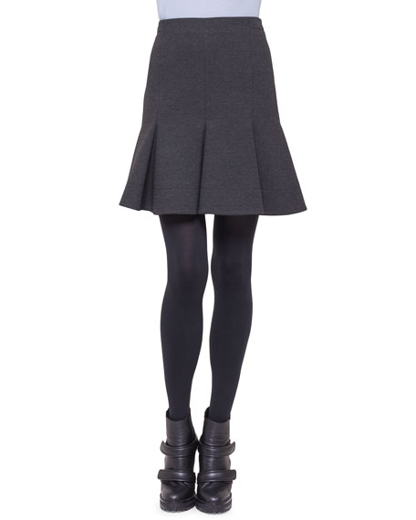 Jersey Flounce Pleat Skirt, Charcoal