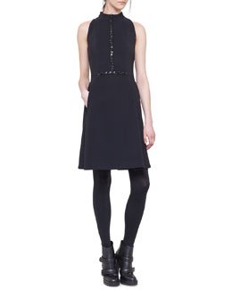 Akris punto Sleeveless Embellished Neoprene Dress