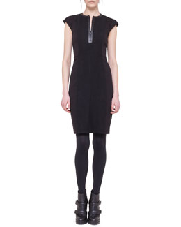 Akris punto Cap-Sleeve Dress with Faux Leather Center