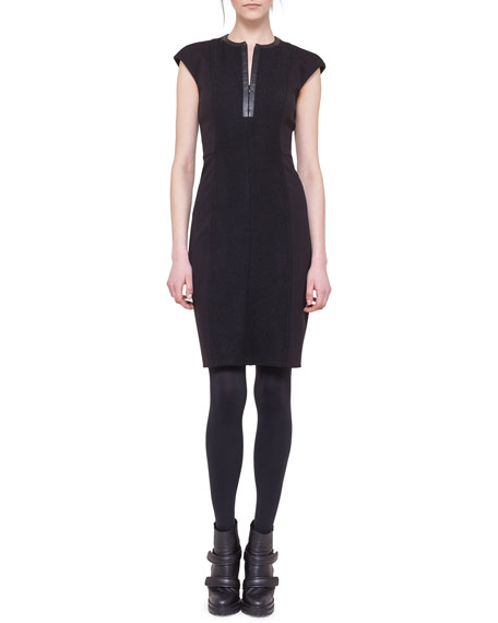 Cap-Sleeve Dress with Faux Leather Center