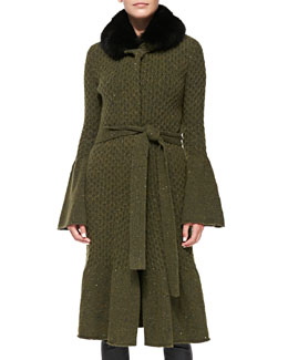 Long Coat with Fox Fur Collar, Olive