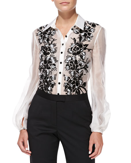 Long-Sleeve Collared Embroidered Blouse, White/Black