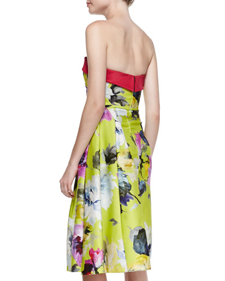 Floral-Print Strapless Cocktail Dress, Yellow/Multi