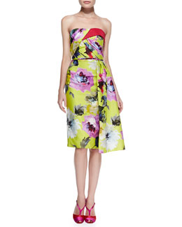 Carolina Herrera Floral-Print Strapless Cocktail Dress, Yellow/Multi
