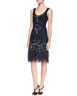 Carolina Herrera Embellished Feather Crepe Dress