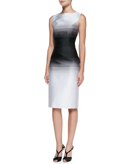 Carolina Herrera Satin Ombre Sleeveless Midi Sheath Dress