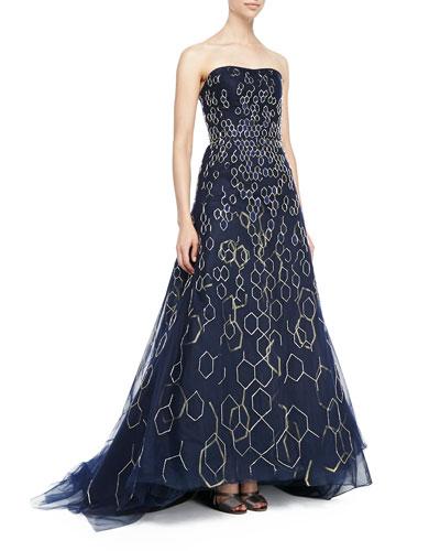 Carolina Herrera Strapless Metallic Honeycomb High-Low Gown