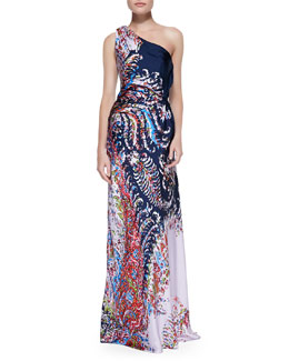 Carolina Herrera Printed Satin One-Shoulder Gown, Navy/Multi