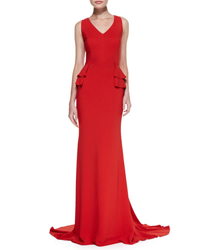Carolina Herrera Sleeveless V-Neck Gown with Peplum, Lava Red