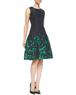 Oscar de la Renta Sleeveless Printed Flared-Skirt Dress