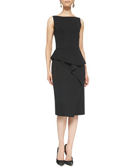 Oscar de la Renta Sleeveless Peplum Dress, Charcoal