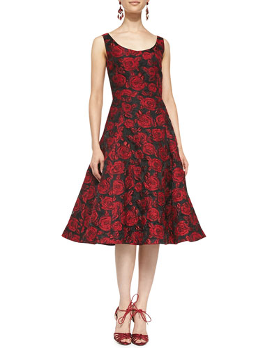 Oscar de la Renta Scoop-Neck Rose Dress with Flared Skirt, Burgundy