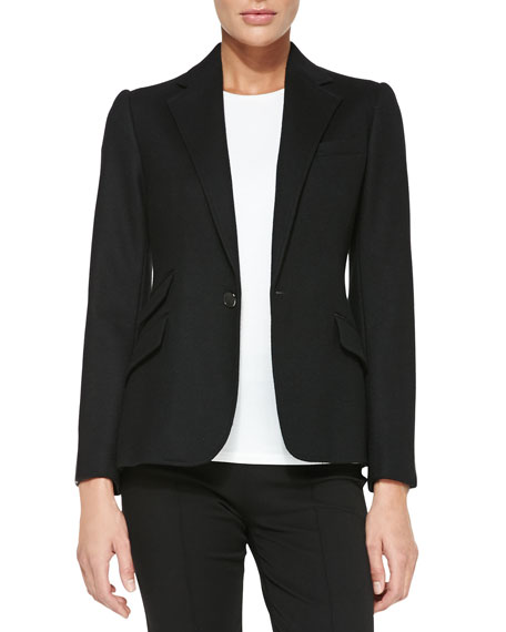Lucille One-Button Jacket with Leather Arms, Black