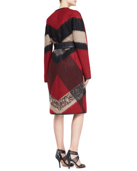 Embroidered Abstract-Plaid Wool-Blend Coat, Red